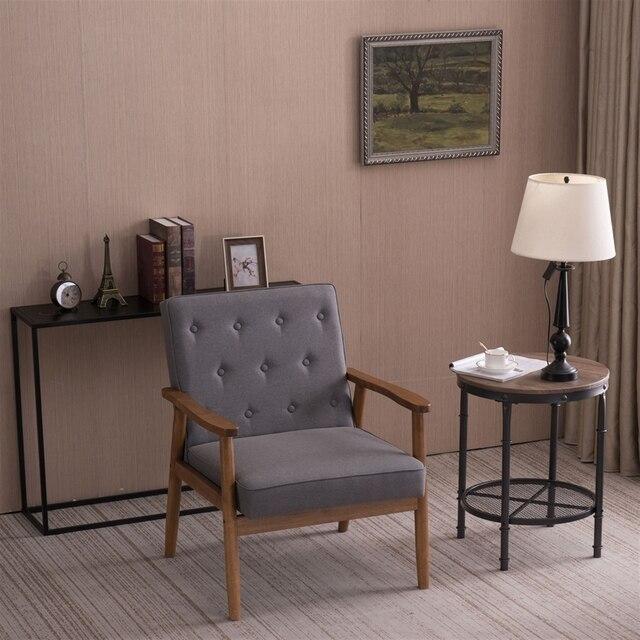 (75 x 69 x 84)cm Retro Modern Wooden Single Chair  Grey Fabric US Warehouse In Stock 2