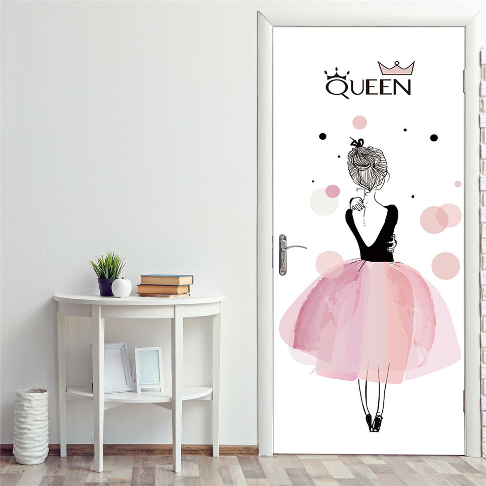 Cute Girl With Pink Skirt Door Poster For Girls Sleeping Room Living Room Home Decor Vinyl Removable Sticker On The Door Mural