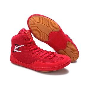 Zapatos de boxeo profesionales auténticos, zapatillas de lucha para hombres y mujeres, zapatos tendones de entrenamiento al final, zapatillas de cuero