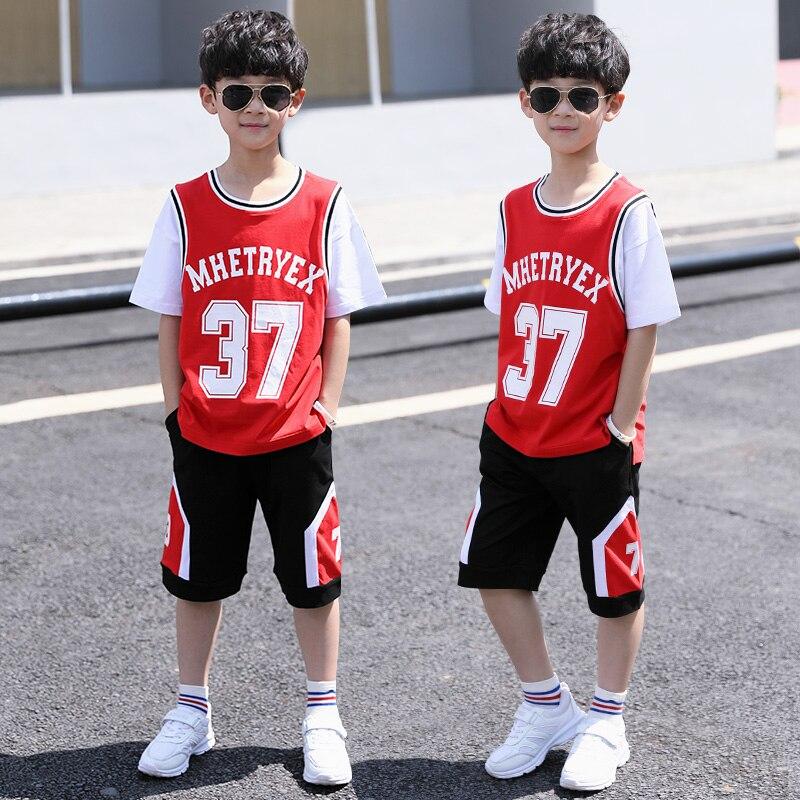Enfants vêtements garçon Sport costumes adolescent été bébé garçon tenue ensembles manches courtes t-shirt & pantalon décontracté 4 5 6 7 8 9 10 12 14 ans