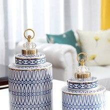 Colorful Creative Storage Jars Jewelry Lid Luxury Grain Candle Ceramic Storage Jar Living Room Rangement Household Items DF50SBJ
