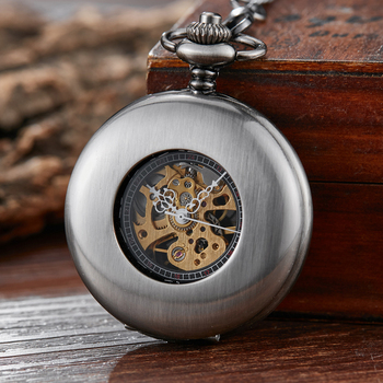 цена на Vintage Bronze Smooth Skeleton Mechanical Pocket Watch Men Steampuk Hand Wind Pendant Clock Chain With Arabic Numerals for Gift