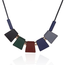 Fashion new geometric rhombus acrylic leather rope knit necklace retro geometric shape sweater chain necklace women цена 2017