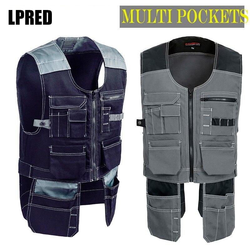 Haute qualité hommes hommes femmes vêtements de travail en plein air hommes gilets de travail outil multifonction Multi poches gilets