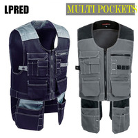High quality Men male female outdoor workwear mens work vests multifunction tool Multi pockets vests