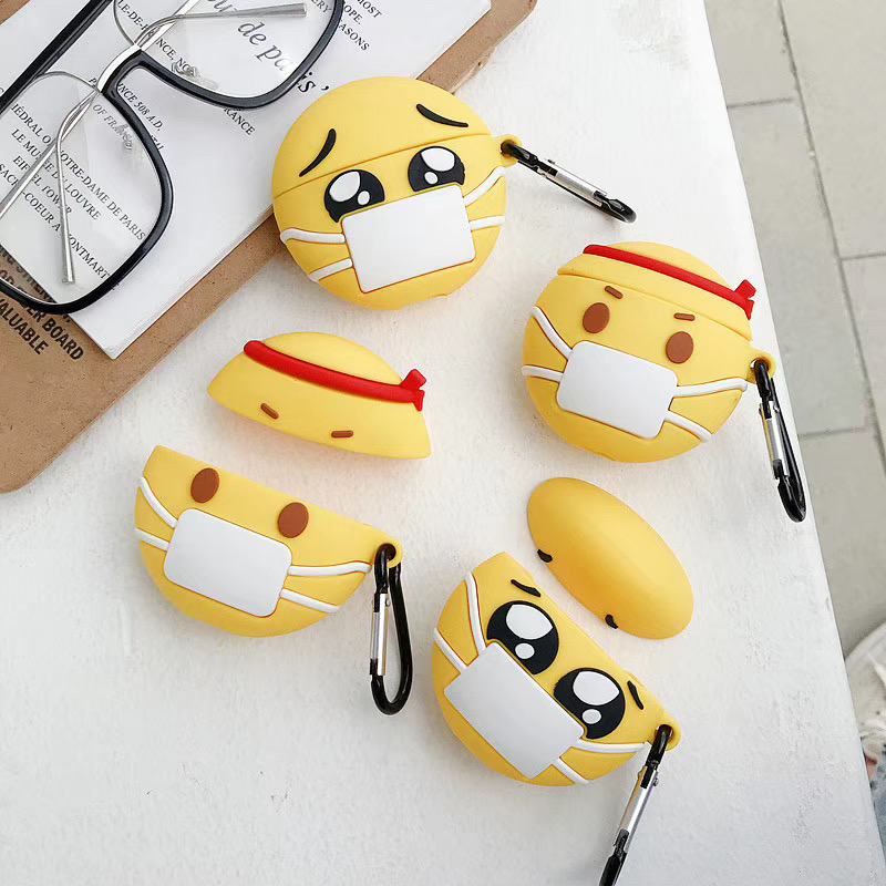 Emojis Face Mask For Airpods Case Pro Cute For Airpod Covers Silicone Covers Yellow For Apple Bluetooth Headphones Cases