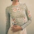 Vintage Schmetterling Aushöhlen Bandage Lange Hülse T-shirts 2021 Neue Frühling Sommer Druck Oansatz Grün Tops Y2K Mode Outfits