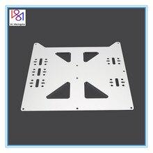 V2 alüminyum Y arabası anodize plaka yükseltme sıcak yatak destek plakası için Wanhao Prusa I3 Reprap Diy 3d yazıcı parçaları aksesuarları