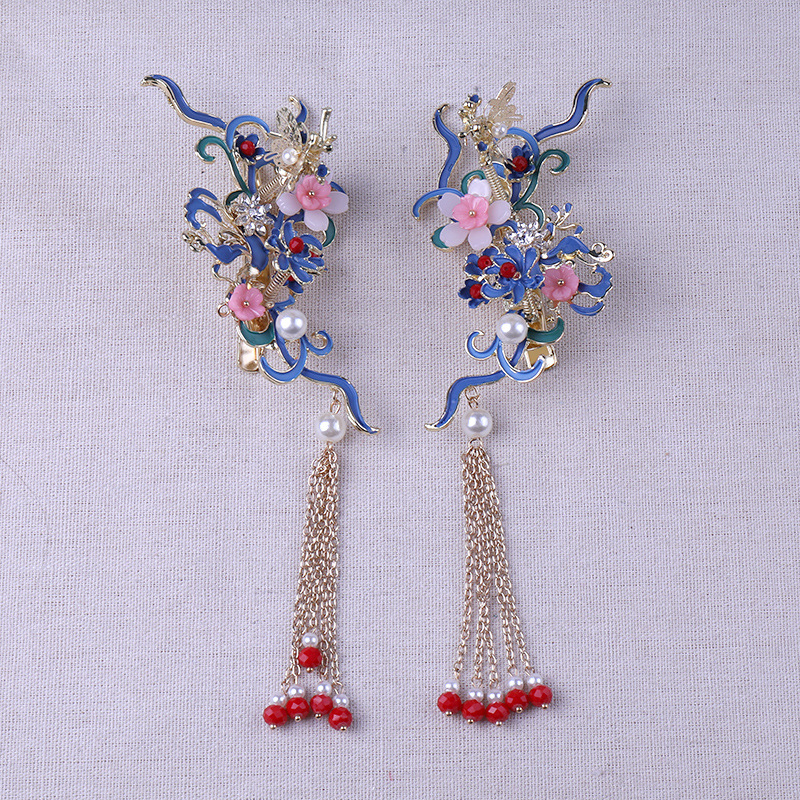 special blue chinese style comb hairpins sets Bride 39 s Butterfly Retro wedding Headdress bridal hair jewelry in Hair Jewelry from Jewelry amp Accessories