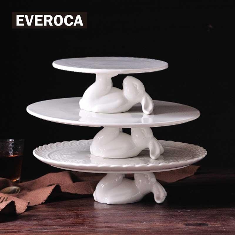 Plateau assiette à dessert en céramique lapin | Lapin mignon support à gâteaux, artisanat cadeaux pour ustensiles de cuisine, amoureux