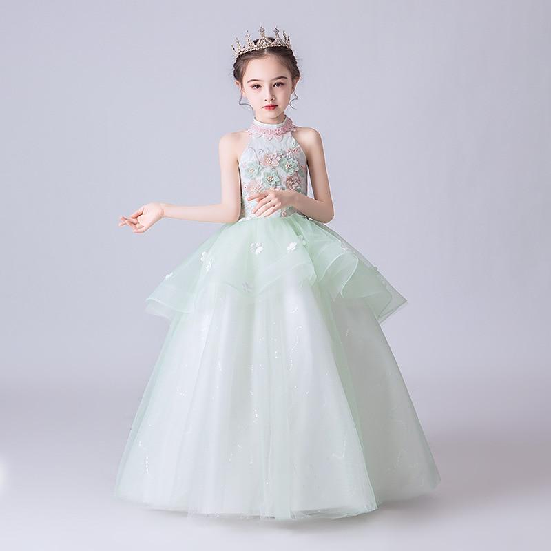 2019 New Style Children Princess Dress Stage Catwalks Formal Dress Girls Puffy Yarn Flower Boys/Flower Girls Model Catwalks Cost