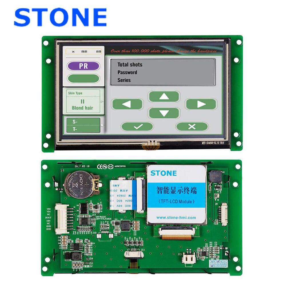 5 Polegada hmi display lcd inteligente com tela de toque + software + driver programa interface uart