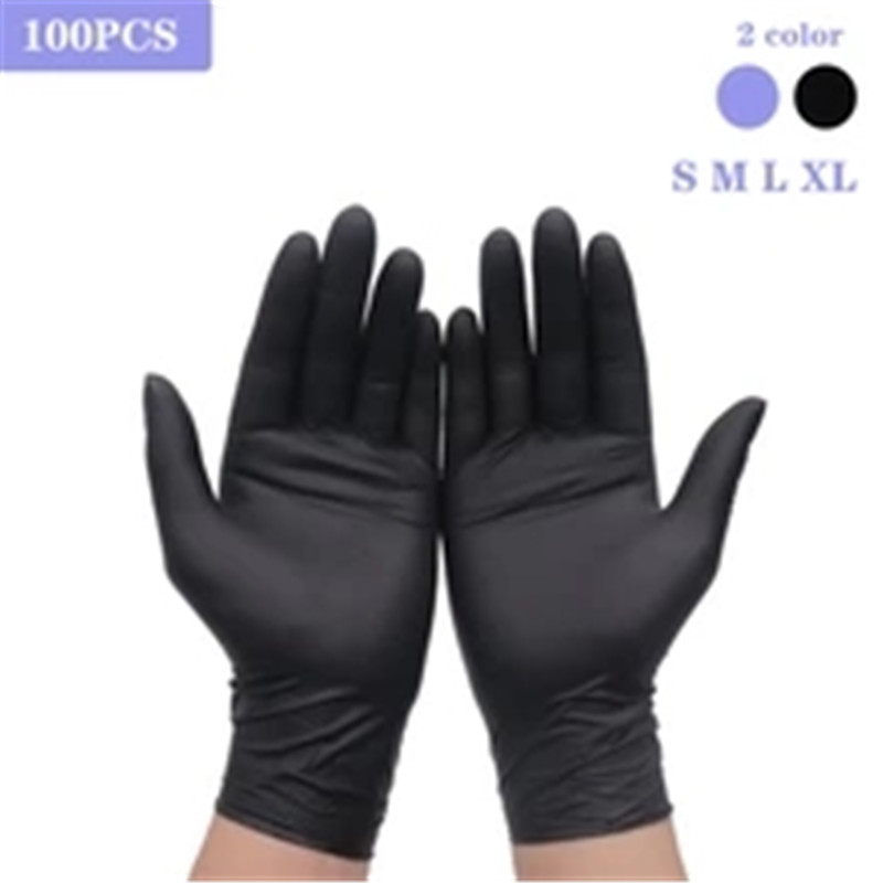 Disposable Black Gloves 100pcs Household Cleaning Washing Gloves Nitrile XL Laboratory Nail Art Medical Tattoo Anti-Static Glove