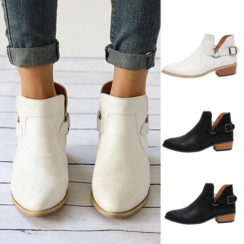 Women Ankle  Boots 2019 Autumn Female Casual Shoes Woman Flat Fashion Platform Round Toe Buckle Strap Solid Comfortable Hot Sale