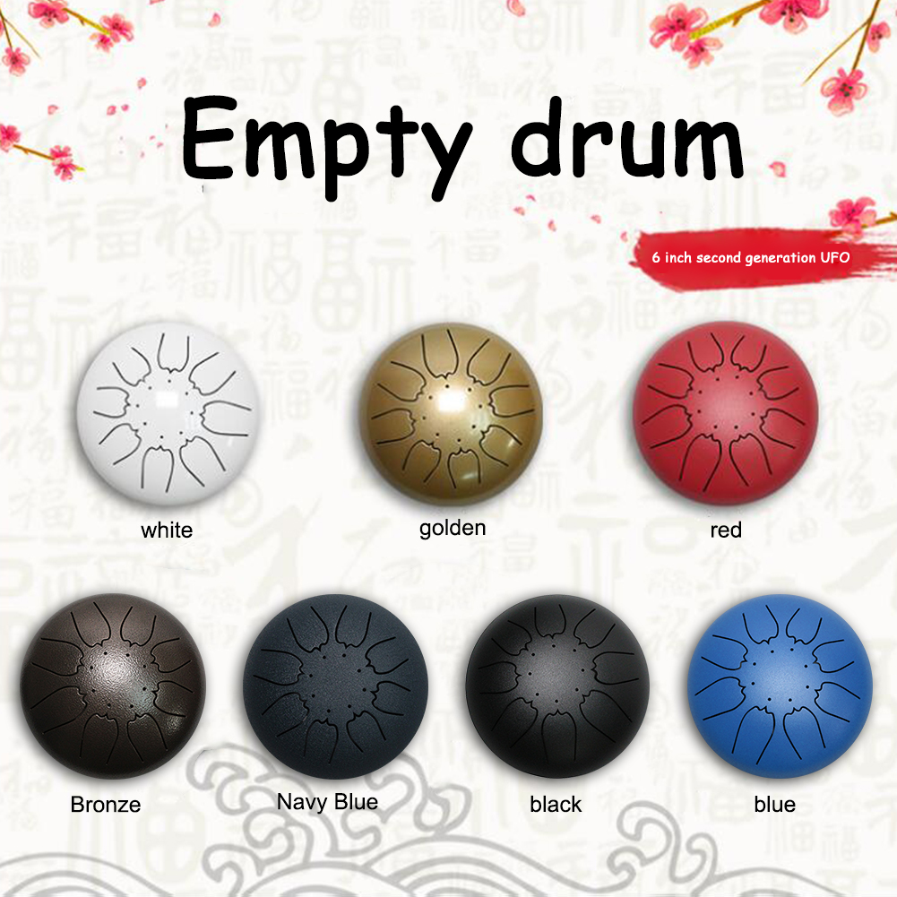 Steel Tongue Drum Set 6 inch 8 Tune Handpan Drum Pad Tank with Drumstick Carrying Bag Percussion Instruments Accessories New