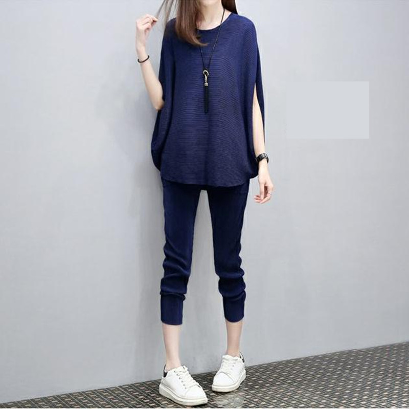 European Station Summer 2018 New Women's Fashion Bat Sleeve Loose and Slim Two-piece Set