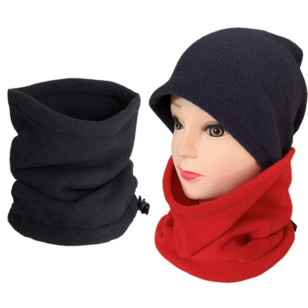 Unisex Winter Outdoor Solid Color Soft Thick Fleece Neck Warmer Gaiter Cover Hat Winter Set Women шапка со снудом женские Gifts
