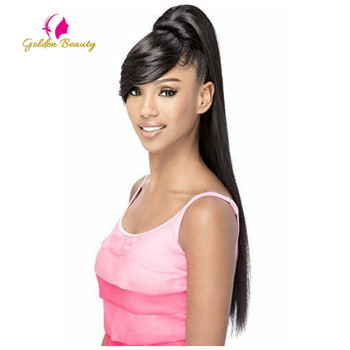 Golden Beauty 24 Synthetic Ponytail With Hair Bang Extensions Straight Hairpiece Pony Tail Hair On Clips For Women Hair Pieces 24 9 hair holder drawing mat for use with the application of hair extensions drawing card skin pad with needles