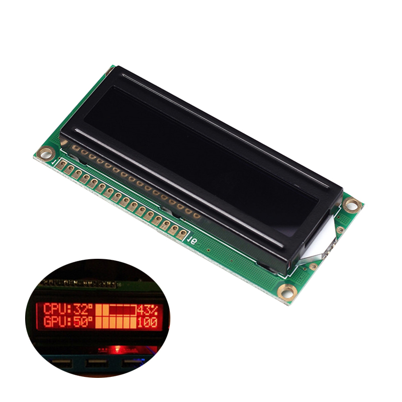 1602A Screen LCD Display Module DC 5V 16x2 Red Character Dot Black Background Parallel Port LCD Controller Module For Arduino