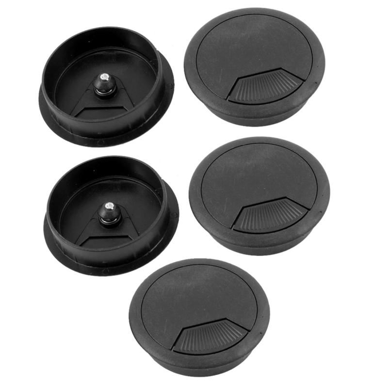Black 60mm Round Grommet Cable Hole Cover For Computer Desk 5 Pcs