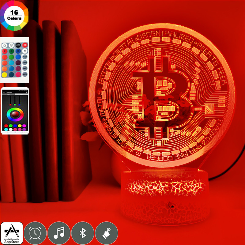 Bitcoin 3D style LED Night Light - Color Changeable - App Controlled