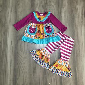 Image 3 - new fall/winter baby girls children clothes  plum orange floral flower stripe pants ruffles cotton long sleeve outfits boutique