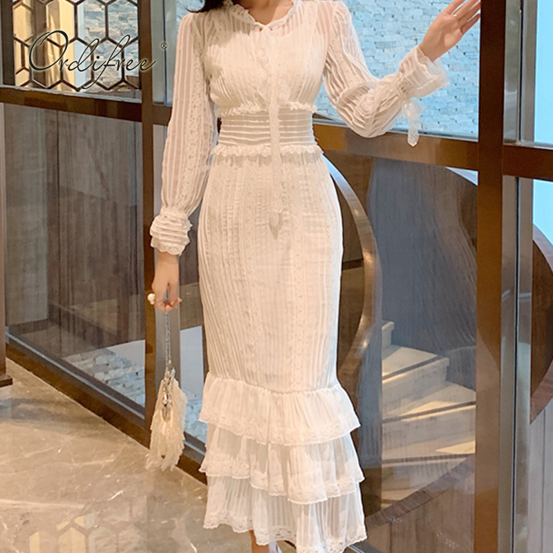 Ordifree 2019 Summer Women White Lace Long Dress Long Sleeve Sexy Bodycon Ruffle Maxi Dress