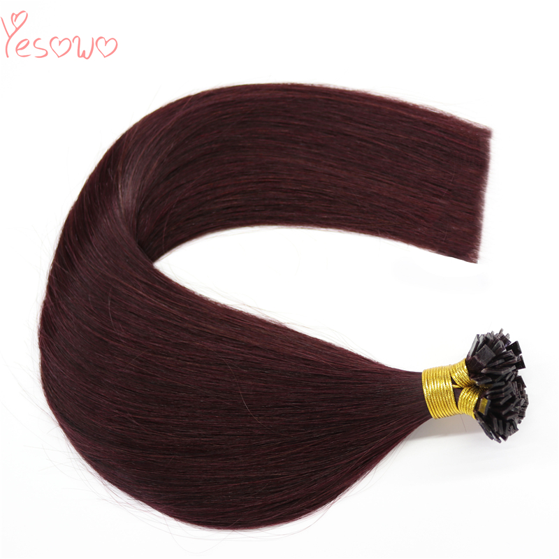 Yesowo 99j# Wine Red Indian Human Hair Extension With Keratin 1.0g/strand Flat Tip Burgundy Hair Extensions