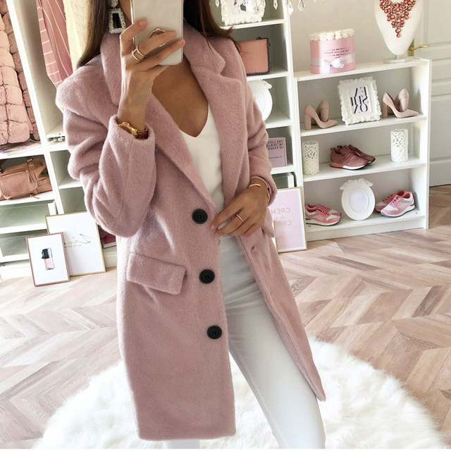 Woman Long Wool Coat Elegant Blend Coats Slim  Female Long Coat Outerwear Jacket Dropshipping size Leisure Work clothes  free sh 5