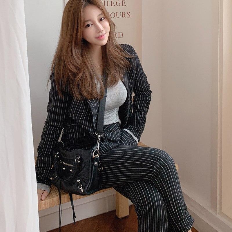 Casual women's suits slim pants set 2019 new autumn black and white striped jacket suit female Office slim pants suit Two-piece