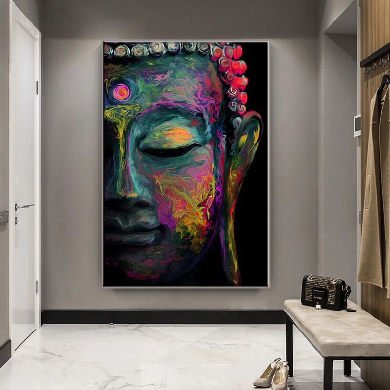 Colorful abstract buddha statues on the wall canvas art posters and prints Buddhist art pictures home wall decoration