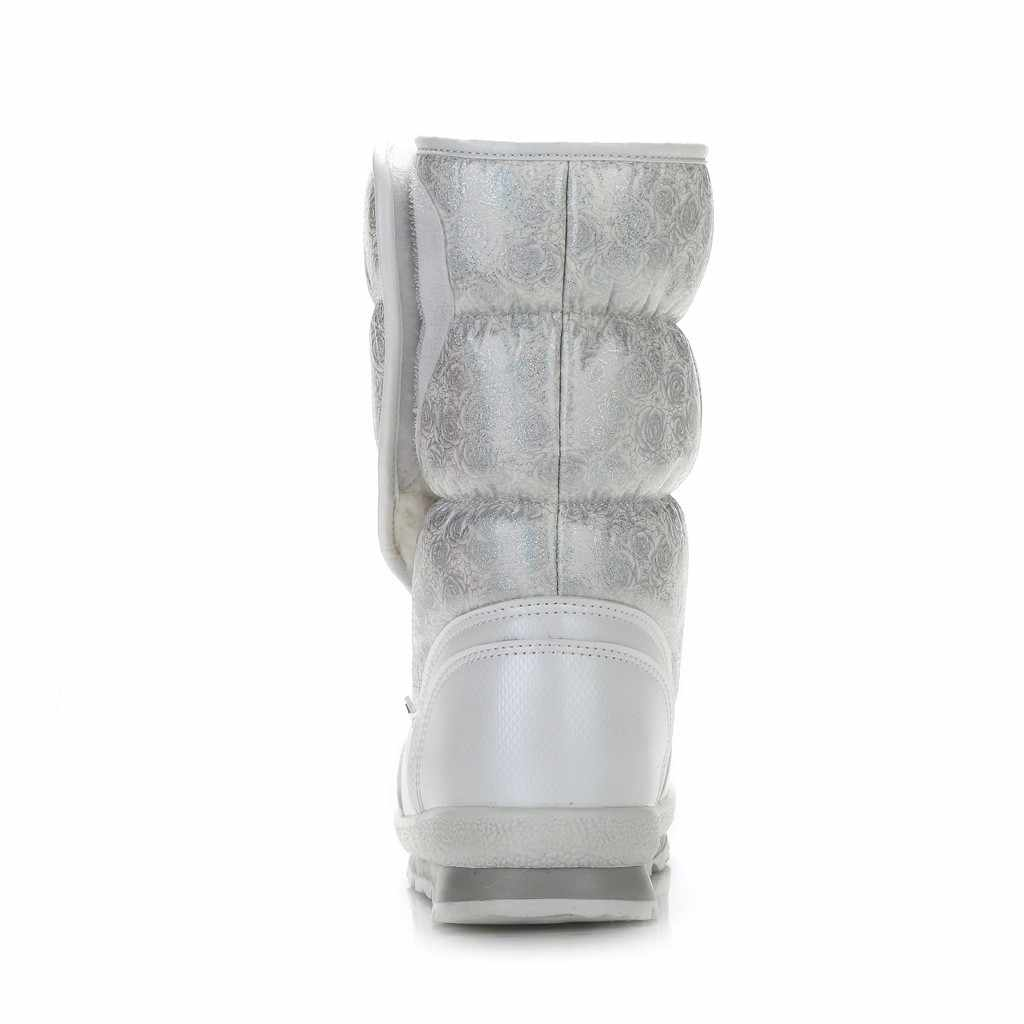 Artı boyutu sıcak kışlık botlar kadın fermuar takozlar platformu çizmeler siyah beyaz mavi kadın kar botları kadın pamuklu ayakkabılar