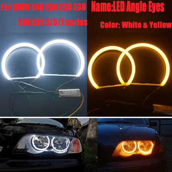 цена на Switchback Cotton Light Halo Rings DRL SMD LED Angel Eyes Kit For BMW 3 5 7 Series E46/E39/E38/E36 CCFL Headlight 131/146mm