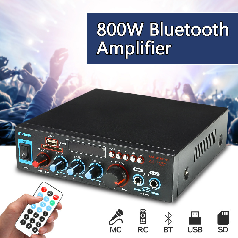 12/220V <font><b>800W</b></font> Home Theater <font><b>Amplifiers</b></font> Bluetooth <font><b>HIFI</b></font> Audio Power <font><b>Amplifier</b></font> Audio with Remote Control Support SD Card FM USB image