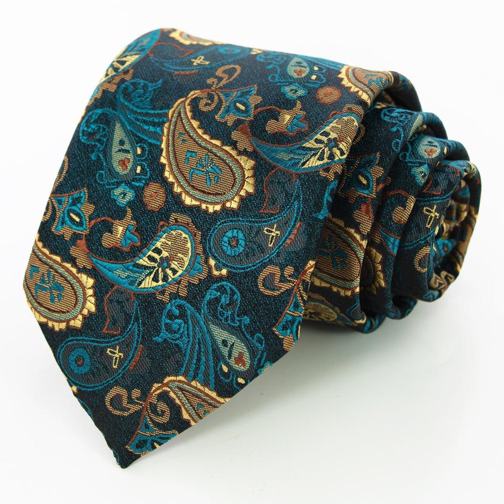 KAMBERFT Fashion Silk Mens Ties 8cm Floral Paisley Jacquare Woven Ties For Men Cravata Business Wedding Accessories