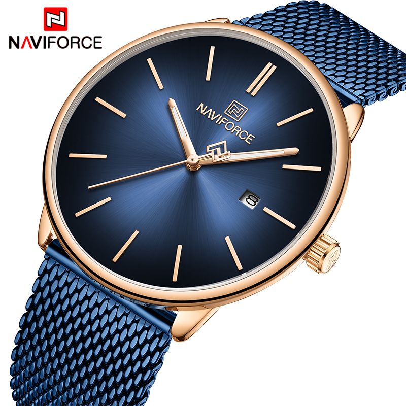 NAVIFORCE Watches Men Top Luxury Brand Fashion Quartz Watch Steel Mesh Big Dial Business Wristwatch Male Clock Relogio Masculino