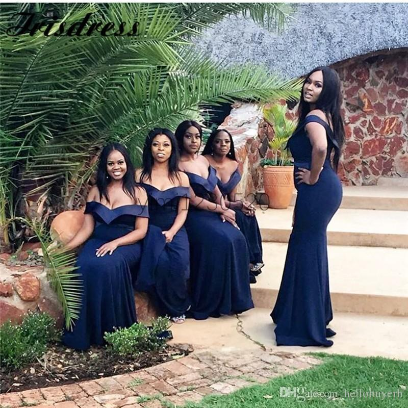 2020 New Mermaid Navy Blue Plus Size Bridesmaid Dresses Cheap Long Off Shoulder Wedding Guest Dress Maid of Honor Dresses