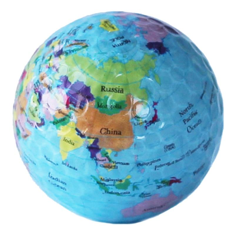 6Pcs/Set Globe Map Golf Balls Color Golf Balls Practice Ball Golf Gift Balls Transparent Colorful Children Pet Toys Massage