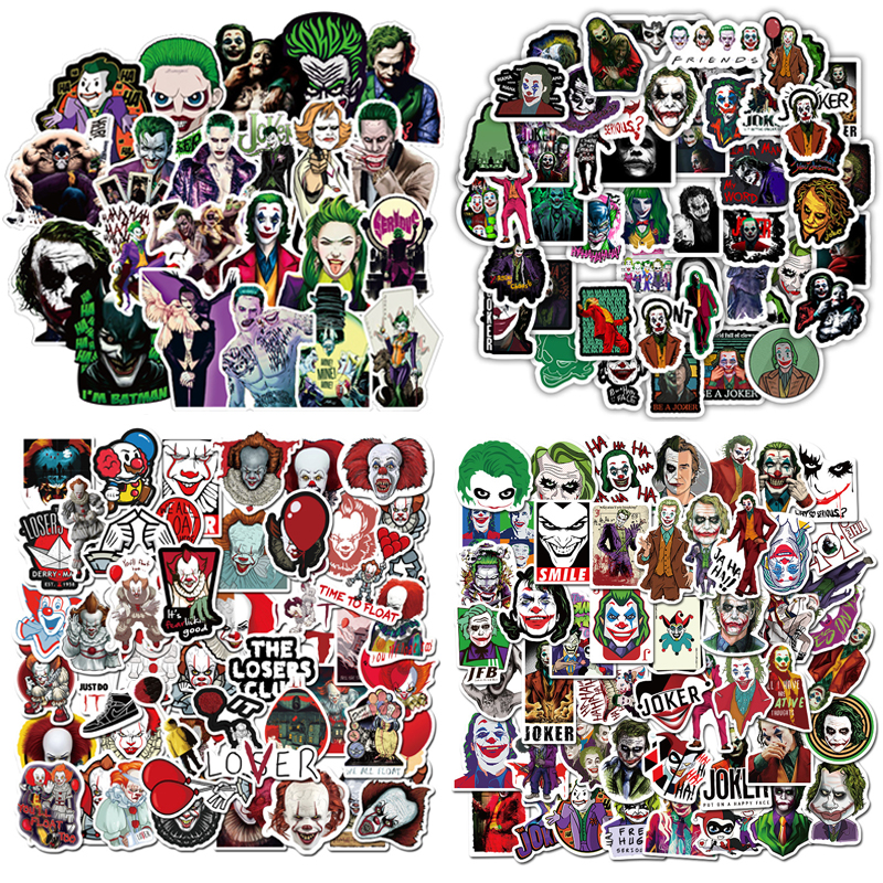 100/50PCS Mixed The Joker Cartoon Stickers For Skateboard Fridge Phone Guitar Motorcycle Luggage PVC Joke Toy Stickers F4