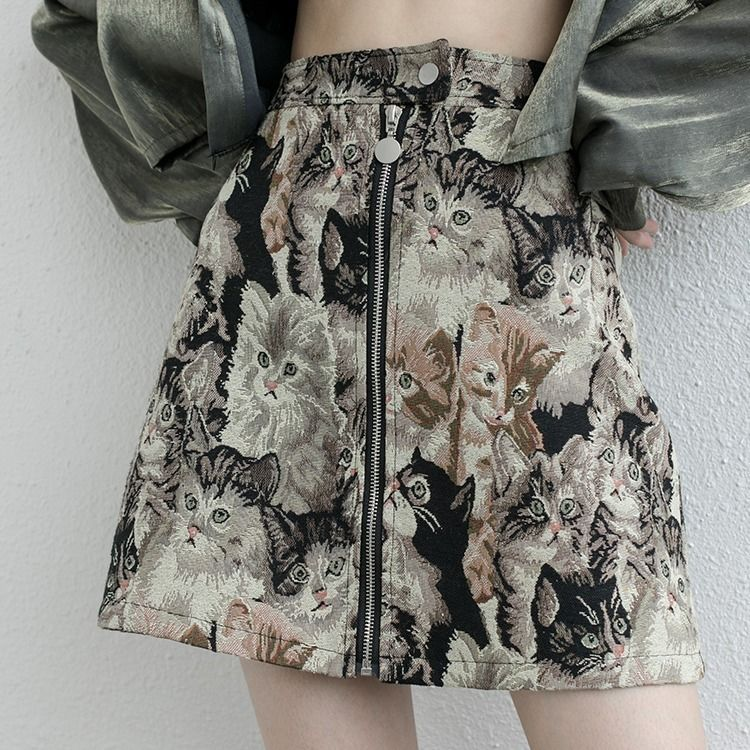 Embroidery Cat Cartoon Print Skirts Women Autumn Mini Pencil Skirts Vintage Korean High Waist Warp Skirt Streetwear Winter Club