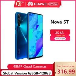 グローバルバージョン huawei 社ノヴァ 5t Kirin980 オクタコアスマートフォン 48MP カメラ 32MP フロントカメラ携帯電話 6.26 ''6 グラム/8G128G アンドロイド 9