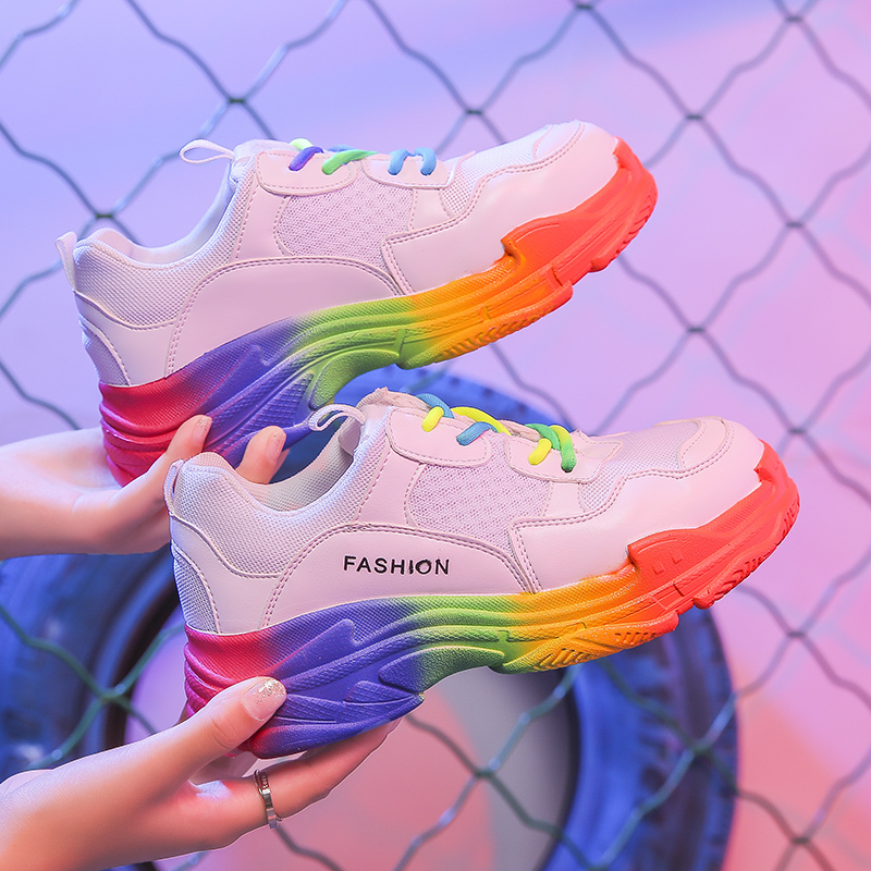 Breathable Mesh Colorful Platform Sneakers Woman Spring Autumn Shoes Women Fashion Comfortable Colored Laces Casual Ladies Shoes
