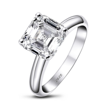 QYI Fashion 925 Sterling Silver Engagement Ring Asscher Cut Solitaire 9x9mm 3.0 CT SONA Stone Quality Assurance