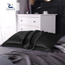 Liv-Esthete Luxury 100% Nature Mulberry Silk Black Pillowcase Queen King Healthy Skin Silky Pillow Case For Women Man Kids
