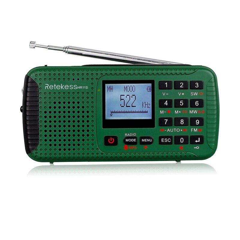 HFES RETEKESS HR11S haut-parleur Bluetooth Portable récepteur de Radio d'urgence solaire avec lecteur MP3 enregistreur numérique