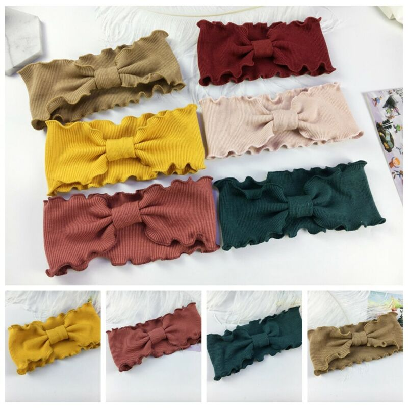 Fashion Baby Girls Headbands Cute Toddler Infant Kid Knitted Lovely Bow Wave Hair Band Accessories Elastic Turban Kids Headwrap
