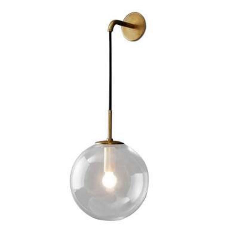 Işıklar ve Aydınlatma'ten Dış Mekan Duvar Lambaları'de Modern İskandinav Retro cam duvar lambası topu duvar lambası başucu lambası kapalı lamba title=