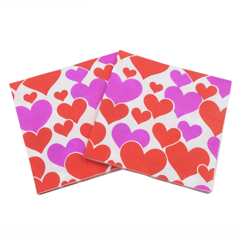 [Currently Available] Color Printing Wedding Napkin Heart LOVE Printed Paper Towel Kleenex UWD-25