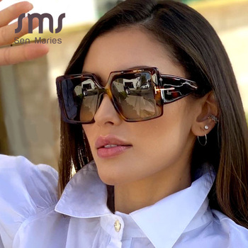Classic Oversized Square Sunglasses Women 2020 New Fashion Black Leopard Sun Glasses Female Gradient Vintage Big Shades UV400 1