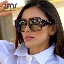 Lunettes de soleil carrées surdimensionnées pour femmes, classiques, nouvelle mode, léopard noir, dégradé, Vintage, UV400, 2020